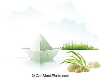 The paper ship on water about a grass.