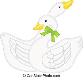 Imagem vetorial escal?vel representando dois cisnes apaixonados, isolado em fundo branco.
