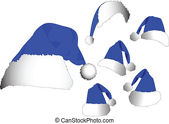 the vector blue santa hat set