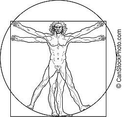 'Homo vitruviano'. So-called The Vitruvian man a.k.a. Leonardo's man. Detailed drawing on the basis of artwork by Leonardo da Vinci, executed him c. 1490 (in 1487 or 1490 or 1492) by ancient manuscript of Roman master Marcus Vitruvius Pollio.