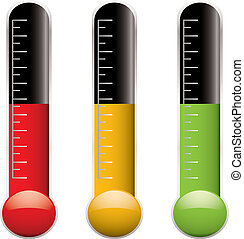 Set of three thermometers with scale and different colored indicator levels