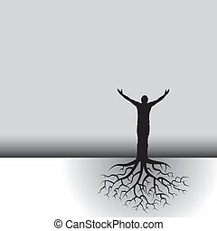 This black & white vector background has a man with tree roots