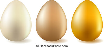 Three realistic eggs - white, beige and gold one.