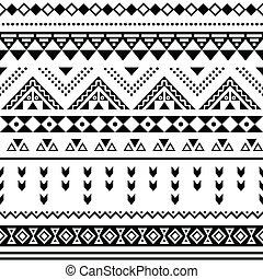 Vector seamless aztec ornament, ethnic pattern on black backgorund