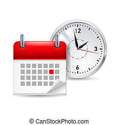 Time icon with calendar and clock behind it