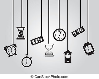 time icons over gray background vector illustration