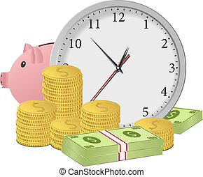 Time is money concept with clock, piggy bank, dollar banknotes and cones. Vector eps10 illustration