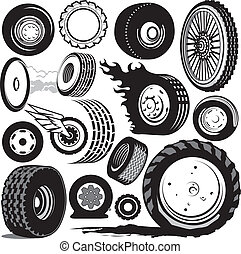 Clip are collection of various tires and wheels