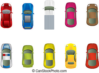 Top view different automobiles