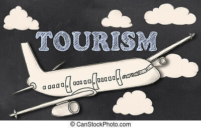 Tourism with chalk on Blackboard with Cutout Illustration