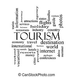Tourism Word Cloud Concept in black and white with great terms such as travel, industry, world and more.