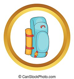 Tourist backpack vector icon