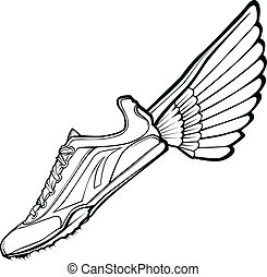 Vector Illustration of a Track Shoe with Wings