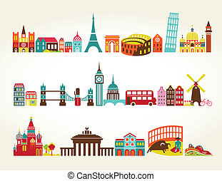 Travel and tourism locations, vector icons