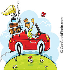 travel boy drive car vector illustration isolated on white background