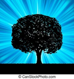 Tree with blue burst template. EPS 8