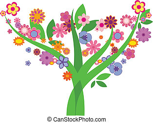 Tree with flowers - Vector image