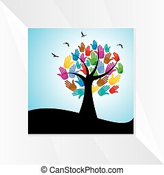 tree with hands concept