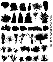 highly detailed plants silhouettes set