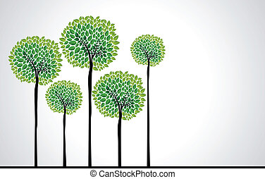 Cute green tree forest design. Vector file layered for easy edition.