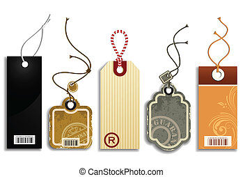 Vector collection of five cute trendy price tags, isolated on white.