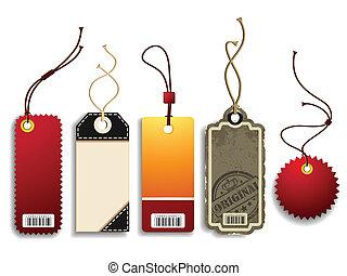Vector set of five trendy cardboard price tags.