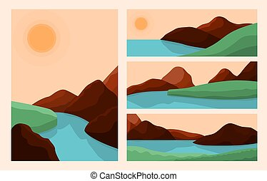 Trendy style landscapes. Art landscape, abstract mountain river graphic background. Skyline sunrise, aesthetic bohemian recent vector wallpaper