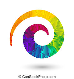 colorful spiral icon element with rainbow pattern in triangular design