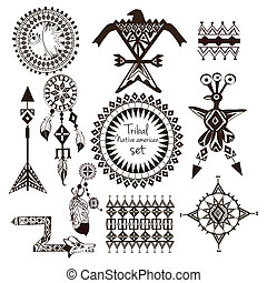Tribal native american indian tribes ornamental black and white decorative elements set isolated vector illustration