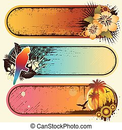 Vector set of three colorful grunge tropical banners, with space for text.