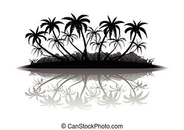 Tropical island silhouette