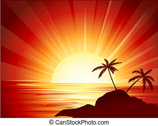 background illustration of tropical island with two palms at sunset