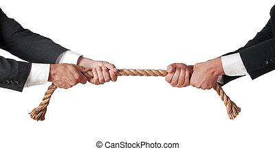 tug of war between businessmen