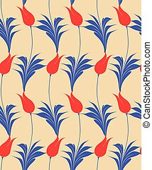 Traditional marbled Turkish tulips seamless pattern, Repeating surface pattern with beautiful tulips for all web and print purposes.