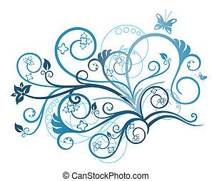 Turquoise floral design element