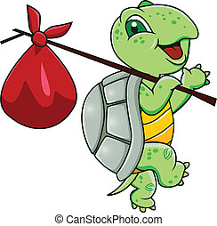 Vector illustration of turtle cartoon journey