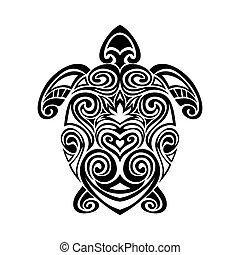 turtle in maori tattoo style.