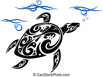 Turtle in ocean water for tattoo design