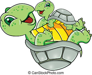 Vector illustration of turtle with baby