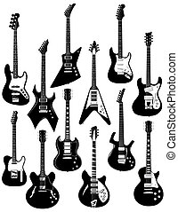 A set of twelve precisely drawn electric guitars