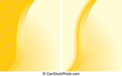 Two abstract yellow backgrounds for cards. Vector illustration