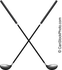 Two crossed golf clubs