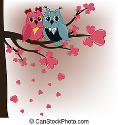 Two owls in a tree lovers with hearts