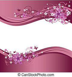 Two pink floral borders