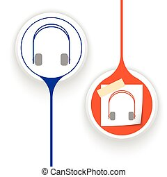 Two vector objects and headphones