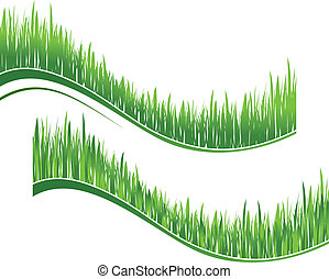 Two waves of green grass