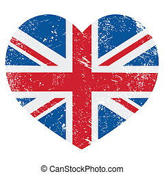 British vintage old flag heart shaped isolated on white