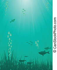 Underwater scene with fish, bubbles and filtering light rays