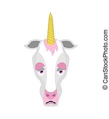 Unicorn sad emoji. Magic horse sorrowful emotions. Fairy Beast dull. Vector illustration