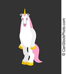 Unicorn sad. Magic horse sorrowful emotions. Fairy Beast dull. Vector illustration